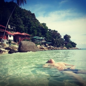 Swimming in front of Senja Bay Resort
