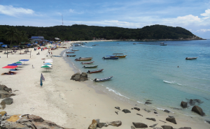 Long beach is busy and lots of activity at perhentian island